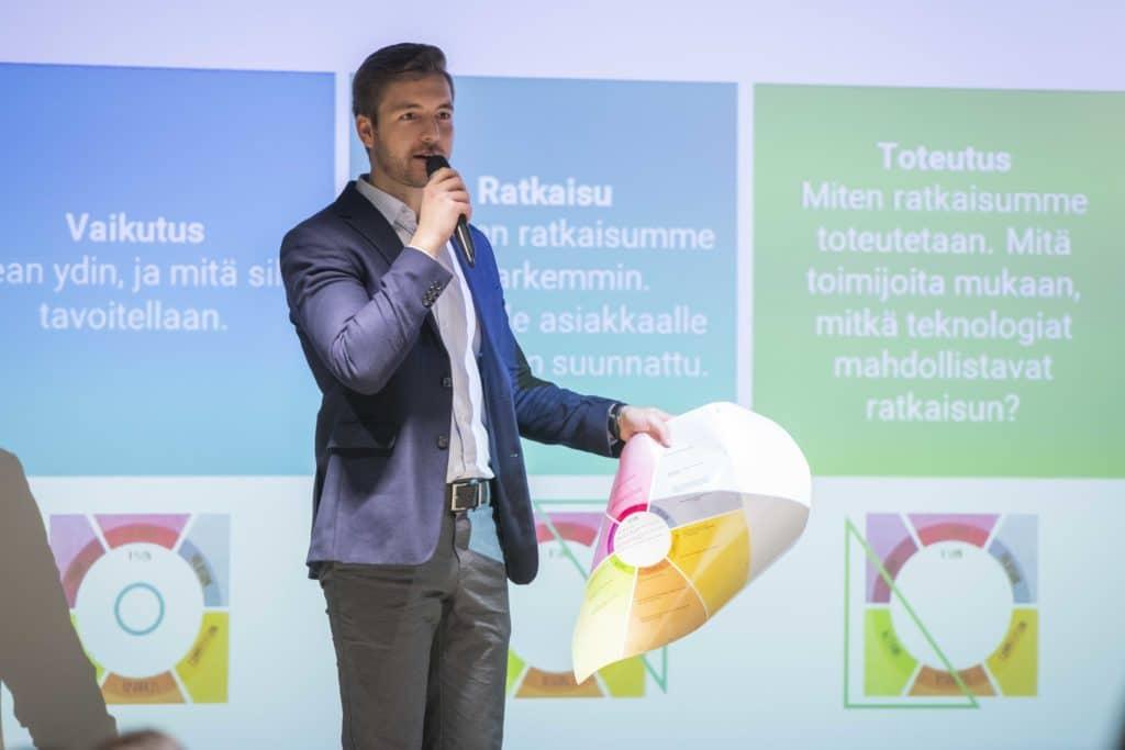 Tampereen yliopiston tutkija Valtteri Ranta esittelee työpajassa käytettävää Impact Canvas -työkalua. Hän pitää kädessään tulostetta työkalusta, ja hänen taustallaan valkokankaalla näkyvät työpajatyöskentelyn vaiheiden otsikot: vaikutus, ratkaisu, ja toteutus.